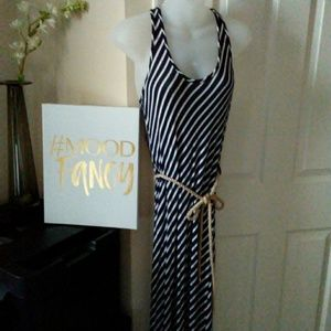 Navy and White Striped Maxi with Rope Belt
